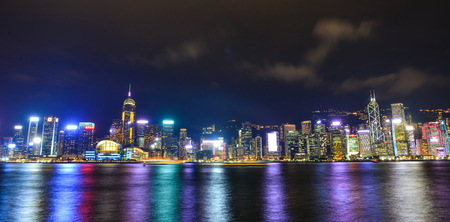Hong Kong - Mar 31, 2017. Cityscape of Hong Kong at night. By the late 20th century, Hong Kong was the seventh largest port in the world.