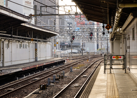Tokyo, Japan - Dec 25, 2015. Empty JR railway station in Tokyo, Japan. Rail transport in Japan is a major means of passenger transport, especially for mass and high-speed travel. Editorial