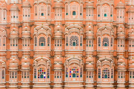 mughal empire: Details of Hawa Mahal (Wind Palace) in Jaipur, India. Hawa Mahal of Rajasthan is the world famous landmark of Jaipur in Rajasthan.