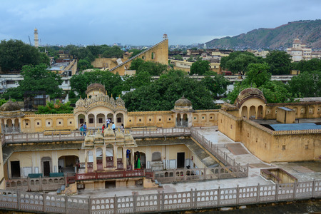 old brick wall: Jaipur, India - Jul 27, 2015. Cityscape of Jaipur, India. Jaipur is the capital and largest city (in terms of size) of the Indian state of Rajasthan in Northern India.