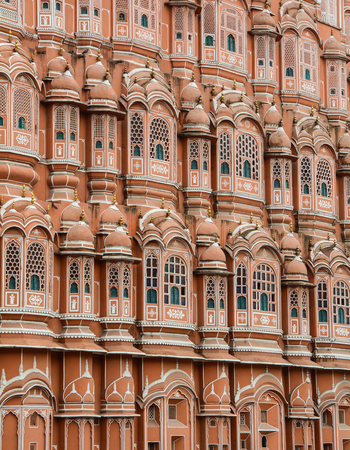 old brick wall: Details of Hawa Mahal (Wind Palace) in Jaipur, India. Hawa Mahal is probably the most recognised building in Jaipur.
