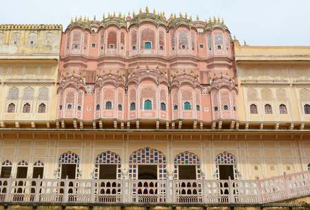 old brick wall: Details of Hawa Mahal (Wind Palace) in Jaipur, India. Hawa Mahal, built in 1799 by Maharaja Sawai Pratap Singh, is one of the most important monuments of Jaipur.
