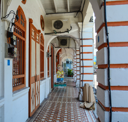 Georgetown, Malaysia - Mar 10, 2016. Lobby of ancient houses in George Town, Malaysia. One of the oldest cities in Malaysia, George Town was inscribed as a UNESCO in 2008. Editorial