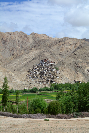 View of Thiksey Gompa with green valley in Ladakh, India. The Monastery is a gompa (monastery) affiliated with the Gelug sect of Tibetan Buddhism.