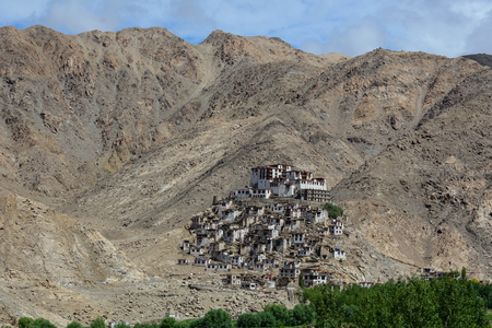 Thiksey Gompa in Ladakh, India. The Monastery is a gompa (monastery) affiliated with the Gelug sect of Tibetan Buddhism.