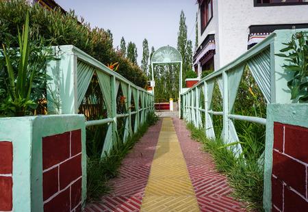 The path at garden of Tibetan Buddhist Temple in Ladakh, India.