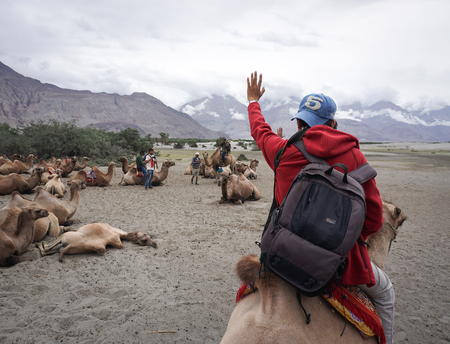 Leh, India - July 19, 2015. A tourist riding camel in Nubra valley, Ladakh, India. The valley was open for tourists till Hunder (the land of sand dunes) until 2010.