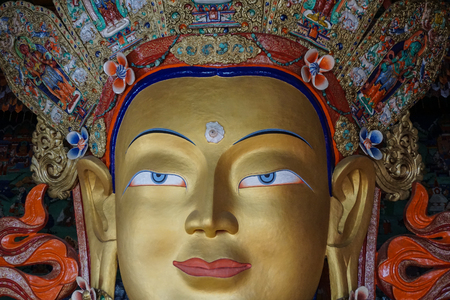 Front of Future Buddha or Maitreya Buddha 28th at Thiksey Monastery in Ladakh, India. Thiksey is the finest example of Ladakhi architecture.