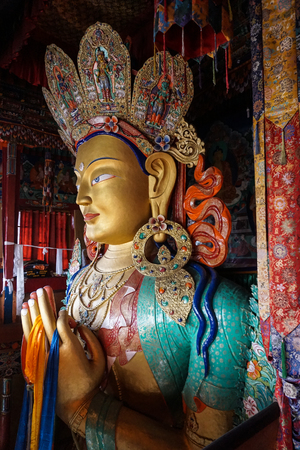 View of Future Buddha or Maitreya Buddha 28th at Thiksey Monastery in Ladakh, India. Thiksey is the finest example of Ladakhi architecture.