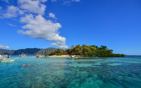 Landscape of tropical sea at sunny day in Coron Island, Philippines. Coron has been described as one of the best spots in the World for Wreck diving. Stock Photo