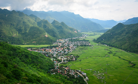 View of Mai Chau Township with paddy rice field in Northern Vietnam.