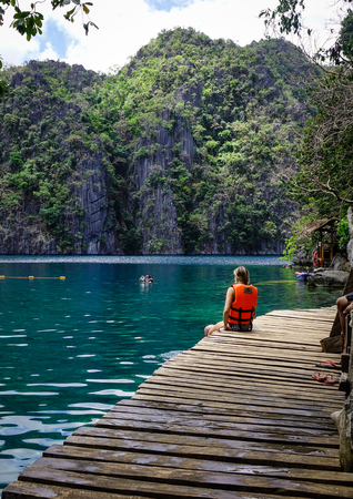 Coron, Philippines - Apr 9, 2017. Tourists enjoy at the Kayangan Lake in Coron Island, Philippines. Coron has been described as one of the best spots in the World for Wreck diving. Editorial