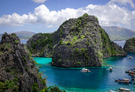 Ladscape of Kayangan Lake in Coron Island, Philippines. Coron has been described as one of the best spots in the World for Wreck diving. Stock Photo