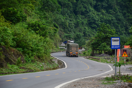 Sapa, Vietnam - May 25, 2016. A truck running on mountain road in Sapa, Vietnam. Sapa is a frontier township and capital of Sa Pa District in north-west Vietnam. Editorial