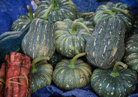 Green pumpkin fruits for sale at rural market in Hanoi, Vietnam.