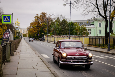 Saint Petersburg, Russia - Oct 11, 2016. Old car on street in Saint Petersburg, Russia. St. Petersburg is one of the modern cities of Russia, as well as its cultural capital. Editorial