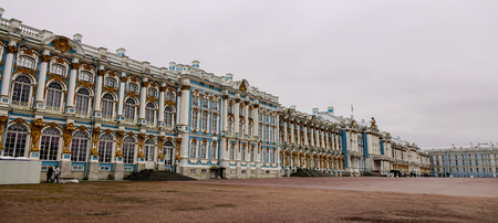 Saint Petersburg, Russia - Oct 11, 2016. Catherine Palace in Saint Petersburg, Russia. The Palace is a Rococo palace located in the town of Tsarskoye Selo (Pushkin), south of St. Petersburg, Russia.