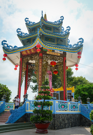 Mekong Delta, Vietnam - Mar 6, 2016. Part of the Chinese pagoda in Mekong Delta, Vietnam. Buddhism in Vietnam as practiced by the ethnic Vietnamese is mainly of the Mahayana tradition.