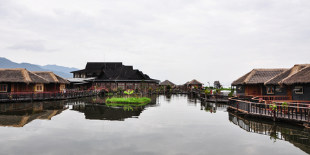 Shan, Myanmar - Oct 6, 2011. Wooden cottages on Inle lake in Shan state, Myanmar. The Inle Lake region is one of Myanmar most anticipated destinations. Editorial