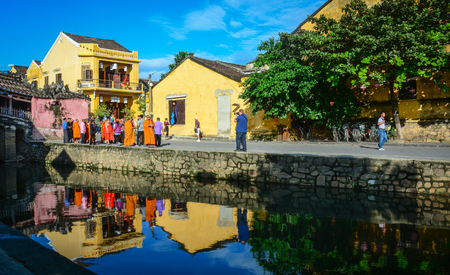Hoi An, Vietnam - Dec 6, 2015. People visit the center of Hoi An Town, Vietnam. Ancient and peaceful, Hoi An is one of the most popular destinations in Vietnam.