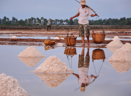 Salt on the reflected field with a farmer background. Shallow focus. Stock Photo