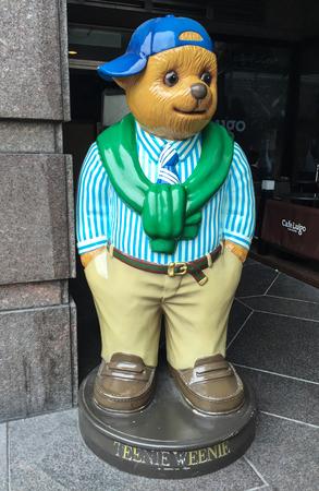 soft sell: TAIPEI, TAIWAN - MAR 22, 2015. Teddy Bear statue at the toy shop in Taipei, Taiwan.