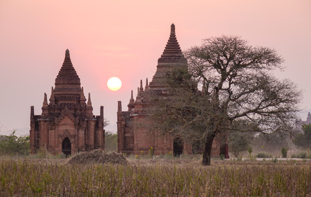 Ancient Buddhist temples at sunset in Bagan, Myanmar. Bagan is one of the world greatest archeological sites, a sight to rival Machu Picchu or Angkor Wat.