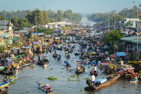 Soc Trang, Vietnam - Feb 2, 2016. Aerial view of Nga Nam Floating Market in Soc Trang, Vietnam. Floating markets can be described as a marketplace where goods are sold on boats.