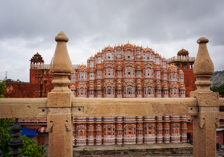 Facade of Hawa Mahal (Wind Palace) in Jaipur, India. The renowned Palace Of The Winds, or Hawa Mahal, is one of the prominent tourist attractions in Jaipur city.