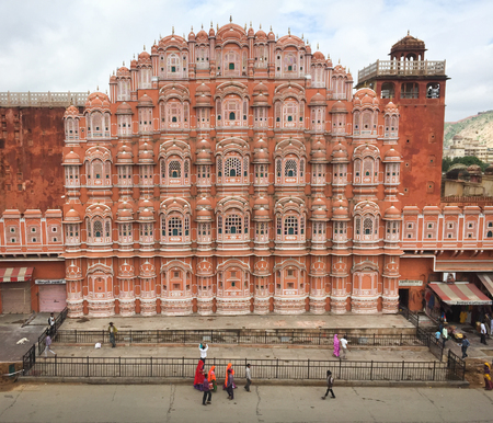 Jaipur, India - Jul 27, 2015. People visit Hawa Mahal in Jaipur, India. Hawa Mahal, built in 1799 by Maharaja Sawai Pratap Singh, is one of the most important monuments of Jaipur.
