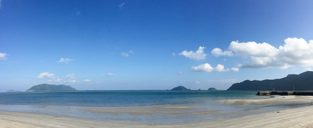 con dao: Seascape of Con Dao Island in southern Vietnam. Panorama view of sand beach at sunny day. Stock Photo