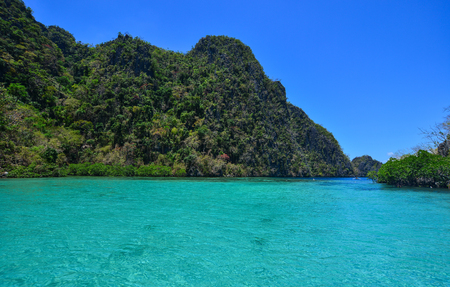 Landscape of tropical sea with turquoise water at sunny day in summer.