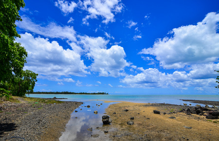 Seascape in Le Morne, Mauritius. Mauritius is a small, multi-cultural island in the Indian Ocean. Stock Photo