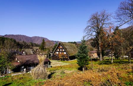 Ancient village Shirakawago at the sunny day in Gifu, Japan. Shirakawa-go is one of UNESCO World Heritage Sites in Asia. Stock Photo