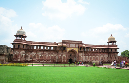 Agra, India - Jul 13, 2015. Agra Fort with the garden in Agra, India. The fort was built by the Mughals, can be more accurately described as a walled city in Agra, India.