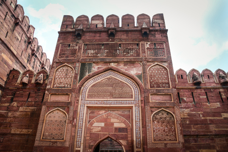 Gate of Agra Fort in Agra, India. The fort was built by the Mughals, can be more accurately described as a walled city in Agra, India.