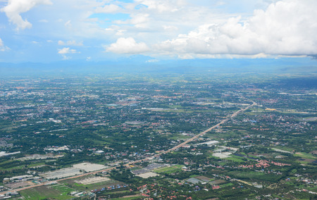Aerial view of the city downtown in Chiang Mai, Thailand. Chiang Mai is both a natural and cultural destination in Asia.
