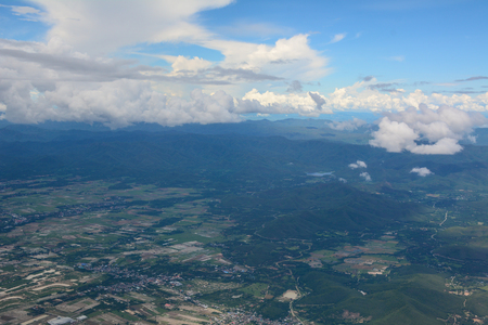Aerial view of mountains in Chiang Mai, Thailand. Chiang Mai is both a natural and cultural destination in Asia. Stock Photo