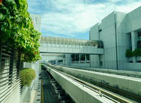 Singapore - Dec 14, 2015. Monorail tracks at Changi Airport in Singapore. Changi Intl Airport is one of the largest transportation hubs in Southeast Asia. Editorial
