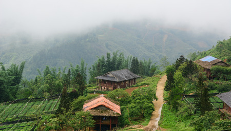 ha giang: Eco resort on mountain in Sapa, Vietnam. Sapa is a beautiful, mountainous town in northern Vietnam along the border with China.