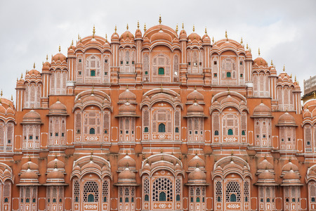 mughal empire: Hawa Mahal (Wind Palace) in Jaipur, India. Hawa Mahal is a grandstand in Jaipur, India. It has five storeys and is constructed of red and pink.