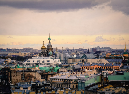 Cityscape with Church of the Savior on Blood in Saint Petersburg, Russia. St. Petersburg was the imperial capital for 2 centuries, having been founded in 1703.