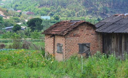 Rural house in Dalat, Vietnam. Dalat sits tucked into the mountain folds of Lang Biang Plateau at an altitude of around 1500m.