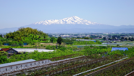 gifu: Landscape of snow mountain with the park in Tohoku, Japan.