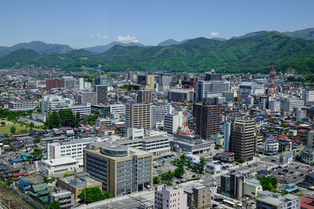 Yamagata, Japan - May 19, 2017. Aerial view of the central of city in Yamagata, Japan. Yamagata Prefecture has, since long ago, been an important marine transportation spot. Editorial