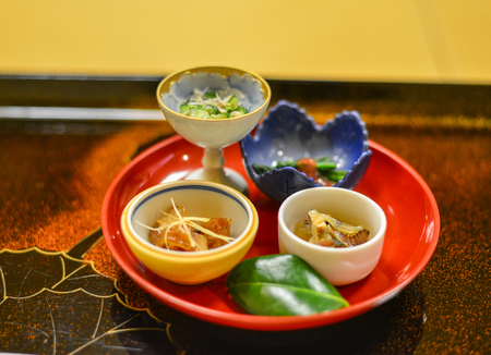 Japanese meal for dinner at the local restaurant in Kyoto, Japan. Stock Photo