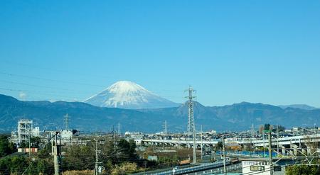 Yamanashi, Japan - Jan 1, 2016. View of Mount Fuji in Fujikawaguchiko, Japan. Fujikawaguchiko is located in southern Yamanashi Prefecture, in the foothills of Mt Fuji. Editorial