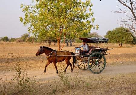 Bagan, Myanmar - Feb 18, 2016. A horse cart carrys tourists on dusty road in Bagan, Myanmar. Bagan is an ancient city in central Myanmar, southwest of Mandalay.