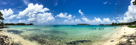 Panorama view of the blue sea in Blue Bay, Mauritius. Mauritius, an Indian Ocean island nation, is known for its beaches, lagoons and reefs. Stock Photo