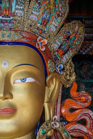 Details of Future Buddha or Maitreya Buddha 28th at Thiksey Monastery in Ladakh, India. Thiksey is the finest example of Ladakhi architecture.